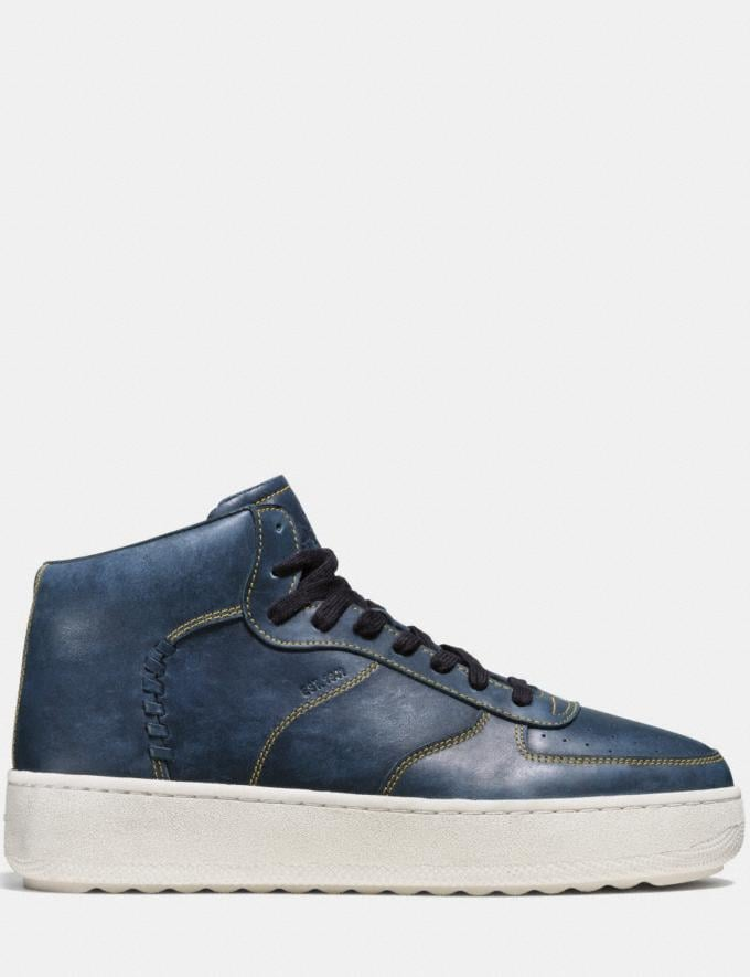Coach Contrast Stitch C210 High Top Sneaker Navy Men Shoes Sneakers Alternate View 1