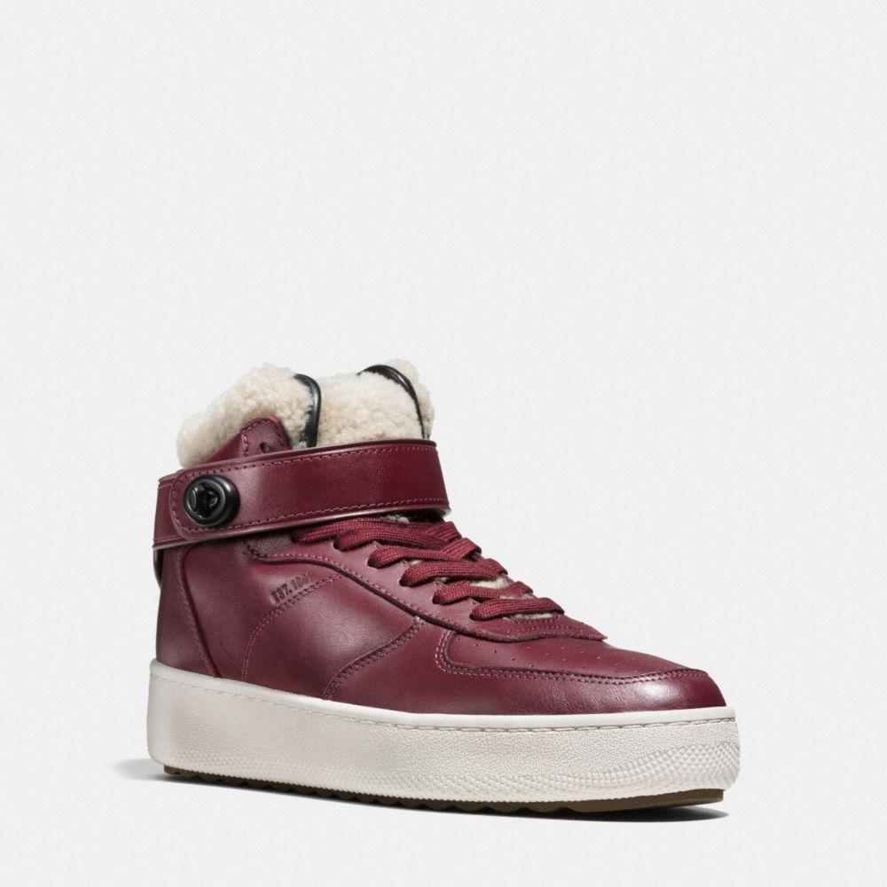 Coach Shearling Turnlock C210 High Top Sneaker