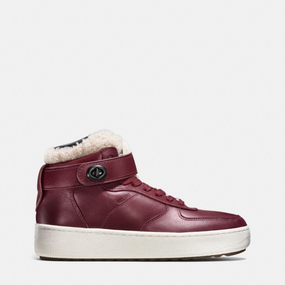 Coach Shearling Turnlock C210 High Top Sneaker Alternate View 1