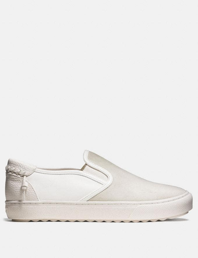 Coach C115 Leather and Suede Slip on Sneaker Chalk/White Men Shoes Smart Casual Alternate View 1