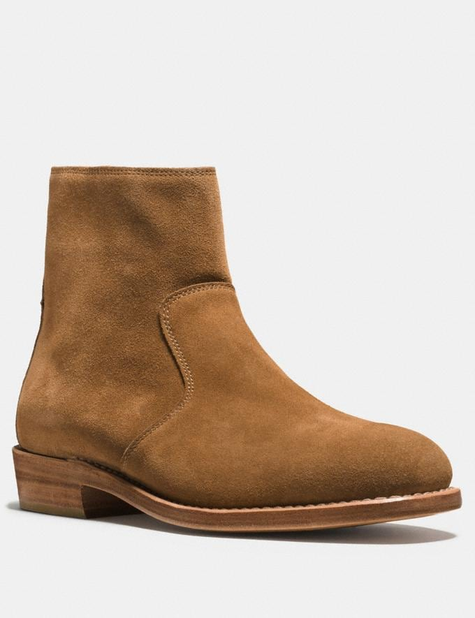 Coach West Suede Zip Boot Camel Men Shoes Boots