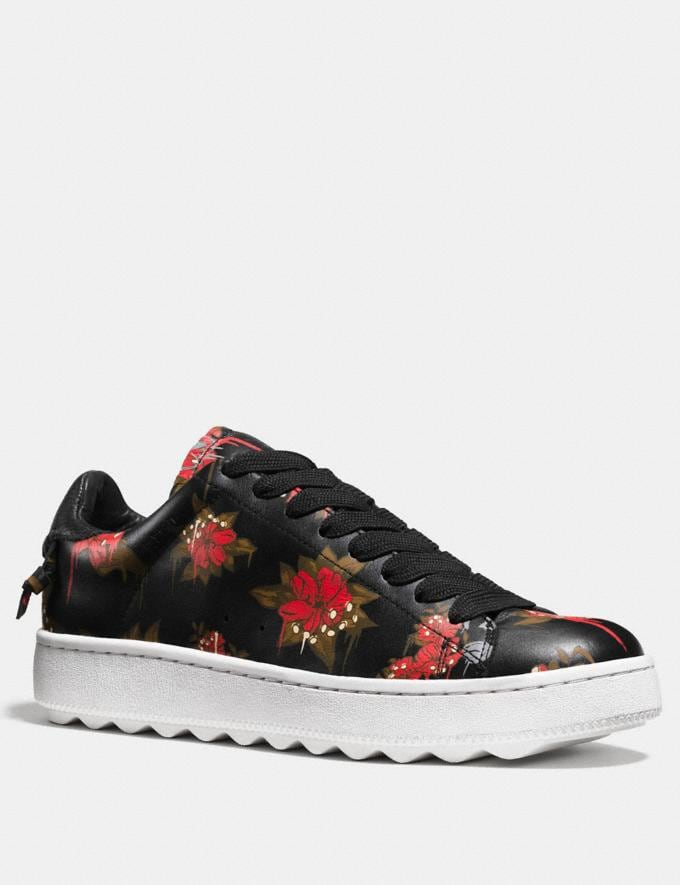 Coach C101 Wild Lily Leather Sneaker Wild Lily/Black Men Shoes Trainers