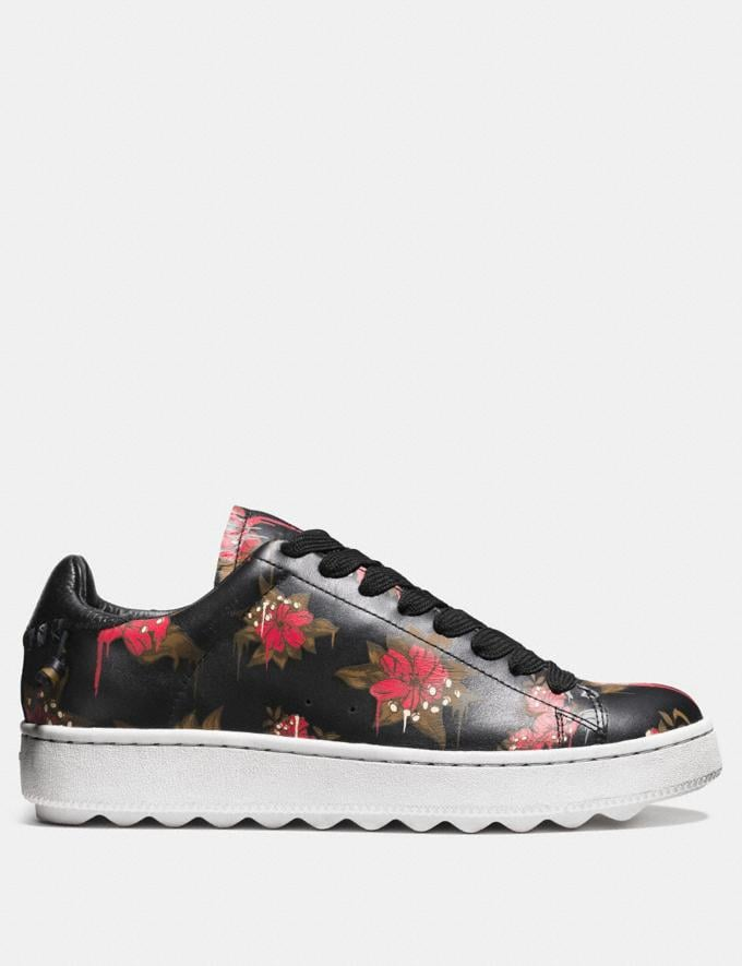 Coach C101 Wild Lily Leather Sneaker Wild Lily/Black Men Shoes Trainers Alternate View 1