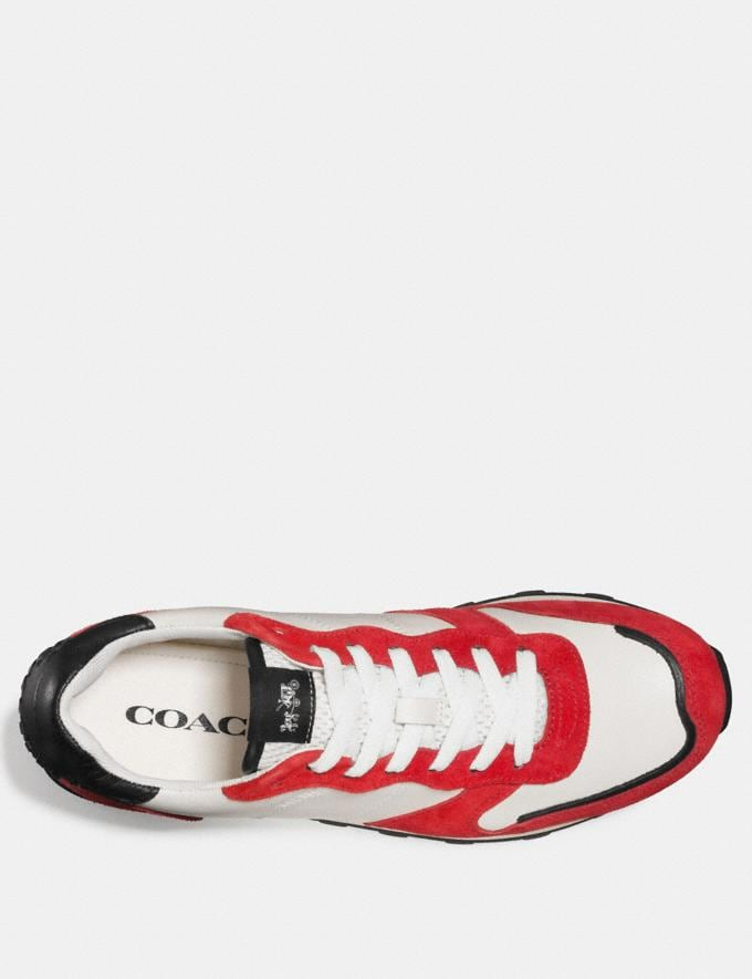 Coach C118 Leather and Suede Sneaker White/Cayenne Men Shoes Trainers Alternate View 2