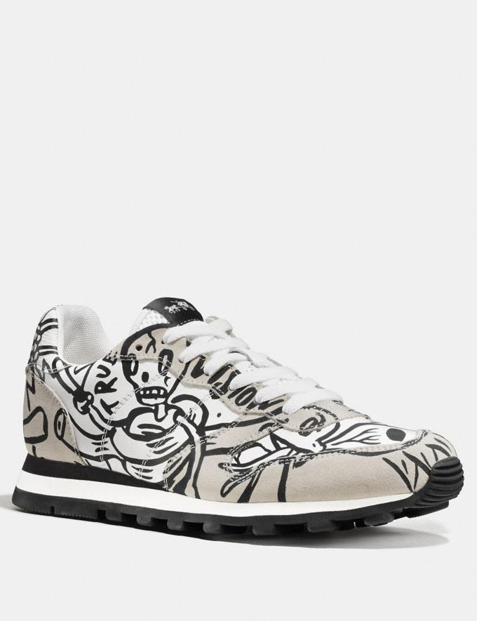 Coach C118 in Printed Leather Chalk Men Shoes Trainers