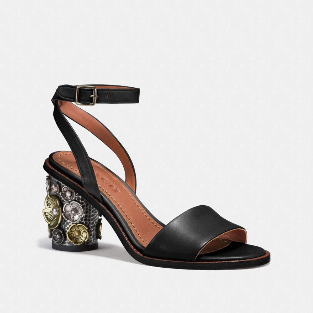 Coach Mid Heel Sandal With Tea Rose