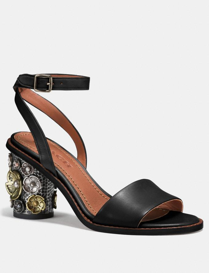 Coach Mid Heel Sandal With Tea Rose Black