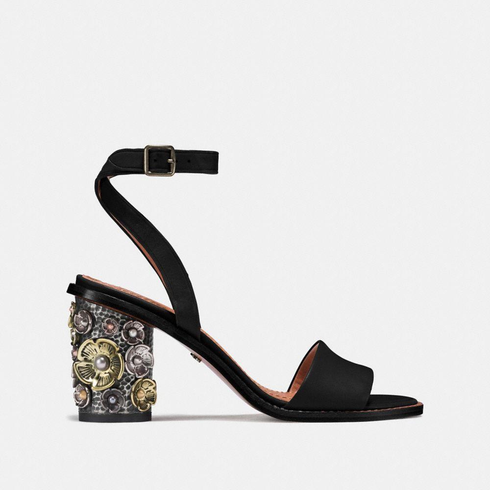 Coach Mid Heel Sandal With Tea Rose Alternate View 1