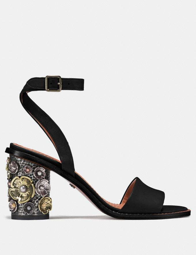 Coach Mid Heel Sandal With Tea Rose Black  Alternate View 1