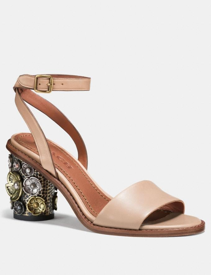 Coach Mid Heel Sandal With Tea Rose Beechwood Women Shoes Sandals