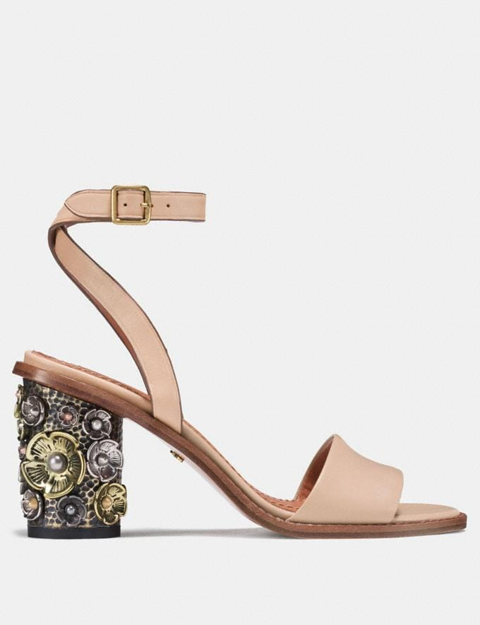 Coach Mid Heel Sandal With Tea Rose Beechwood Women Shoes Sandals Alternate View 1