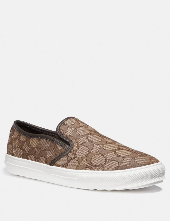 Coach C115 Slip on Khaki/Chestnut Women Shoes Sneakers