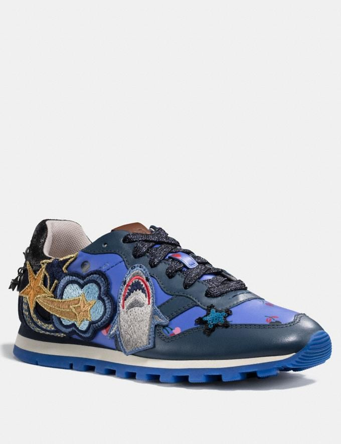 Coach C125 Runner With Sharky Patches Blue/Grey Women Shoes Sneakers