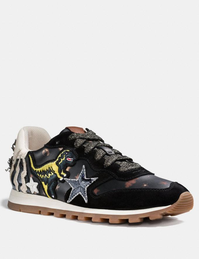 Coach C125 Runner With Rexy Patches Black/Ivory Friends & Family Sale Women's Shoes