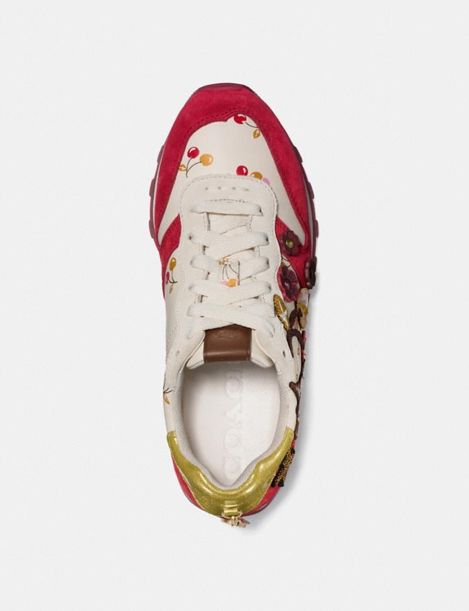 Coach C125 Runner With Uni Patches Ivory/Red Women Shoes Sneakers Alternate View 1