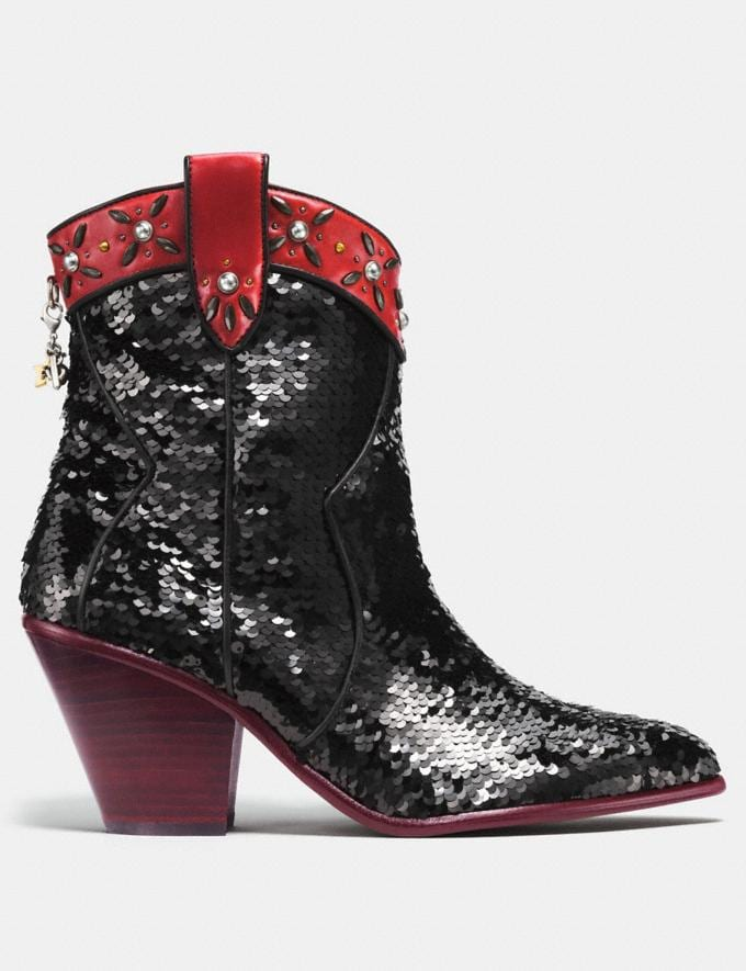 Coach Western Bootie With Sequins Black/Wine SALE Women's Sale Shoes Alternate View 1