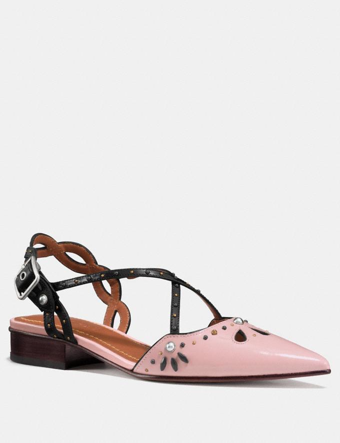 Coach Flat With Prairie Rivets Pink/Black Women Shoes Flats