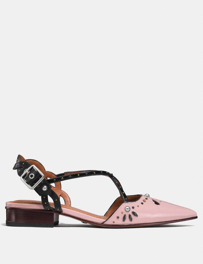 Coach Flat With Prairie Rivets Pink/Black  Alternate View 1