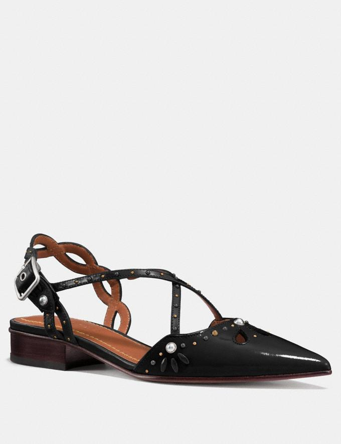Coach Flat With Prairie Rivets Black/Black Women Shoes Flats