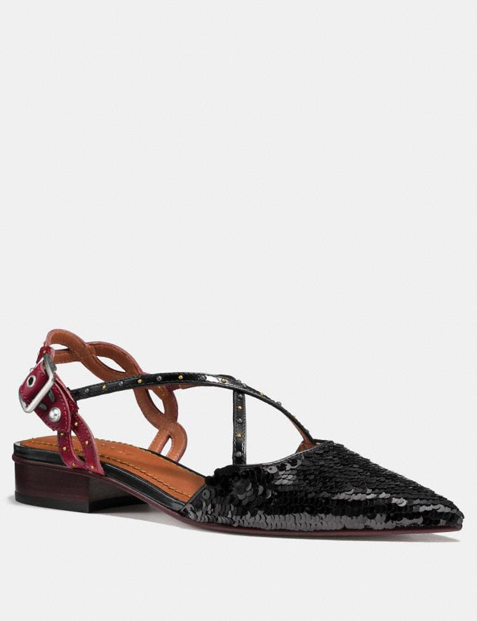 Coach Flat With Sequins Black/Wine
