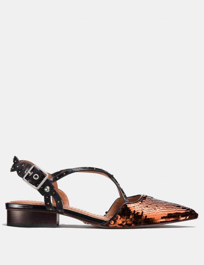Coach Flat With Sequins Copper/Black Women Shoes Flats Alternate View 1
