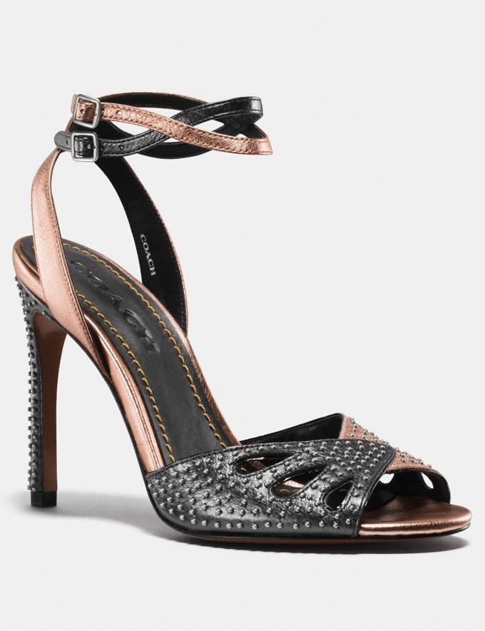 Coach Heel Sandal With Prairie Rivets Rosegold