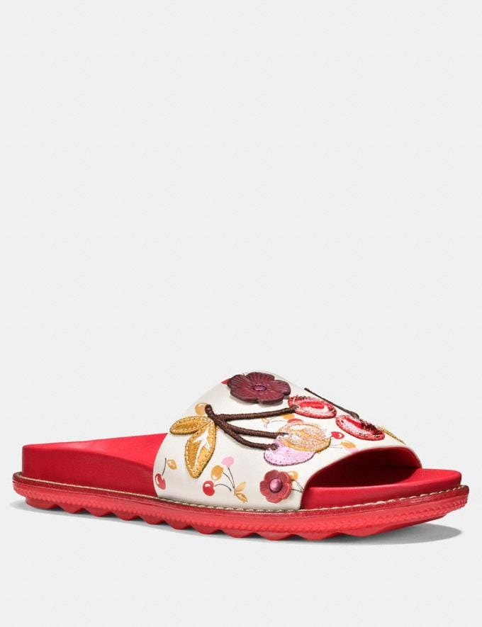 Coach Sport Slide With Cherry Patches Ivory/Red