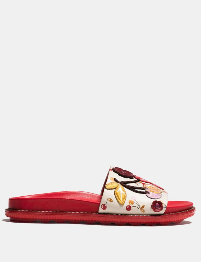 Coach Sport Slide With Cherry Patches Ivory/Red  Alternate View 1