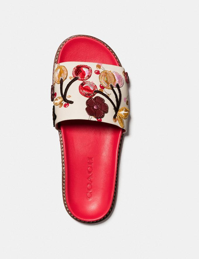 Coach Sport Slide With Cherry Patches Ivory/Red  Alternate View 2
