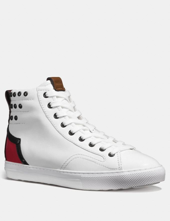 Coach C227 Western High Top White/Red/Oxblood