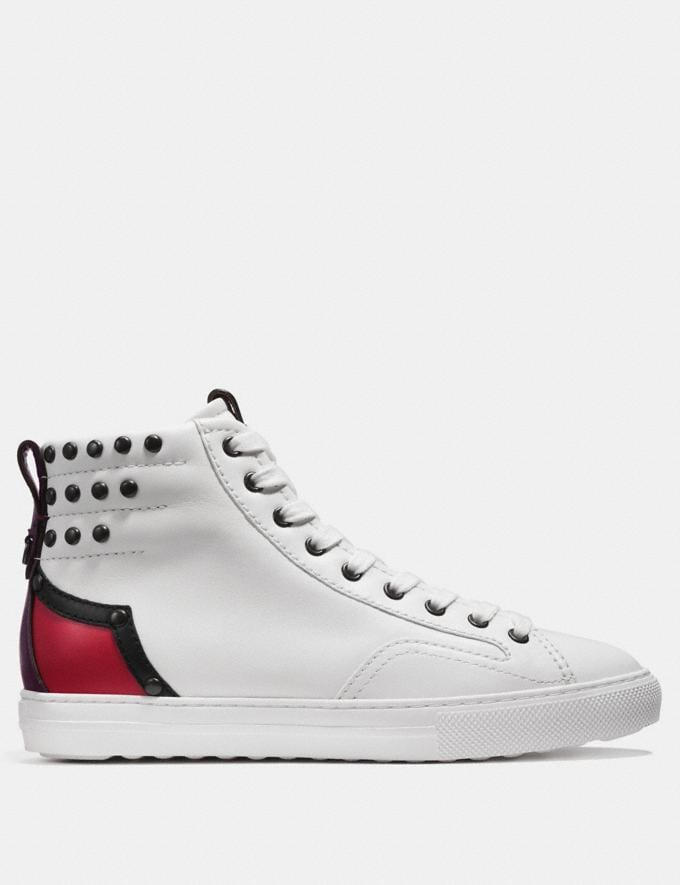 Coach C227 Western High Top White/Red/Oxblood  Alternate View 1