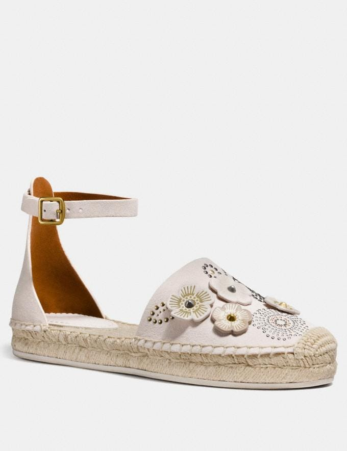 Coach Ankle Strap Astor Espadrille With Tea Rose Rivets Chalk CYBER MONDAY SALE Women's Sale 40 Percent Off