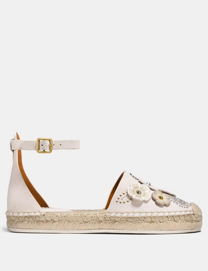 Coach Ankle Strap Astor Espadrille With Tea Rose Rivets Chalk CYBER MONDAY SALE Women's Sale 40 Percent Off Alternate View 1