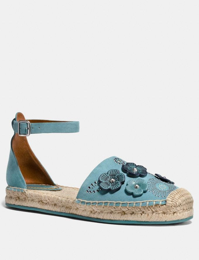 Coach Ankle Strap Astor Espadrille With Tea Rose Rivets Marine