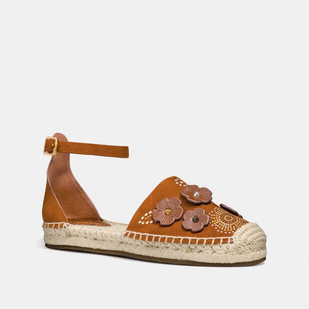 Coach Ankle Strap Astor Espadrille With Tea Rose Rivets