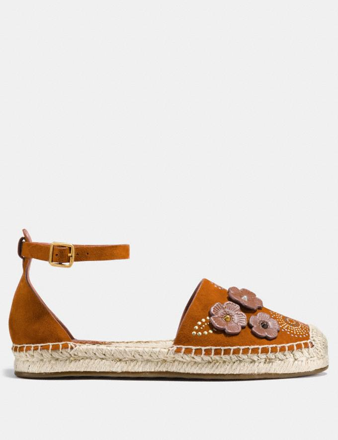 Coach Ankle Strap Astor Espadrille With Tea Rose Rivets Saddle Women Shoes Flats Alternate View 1