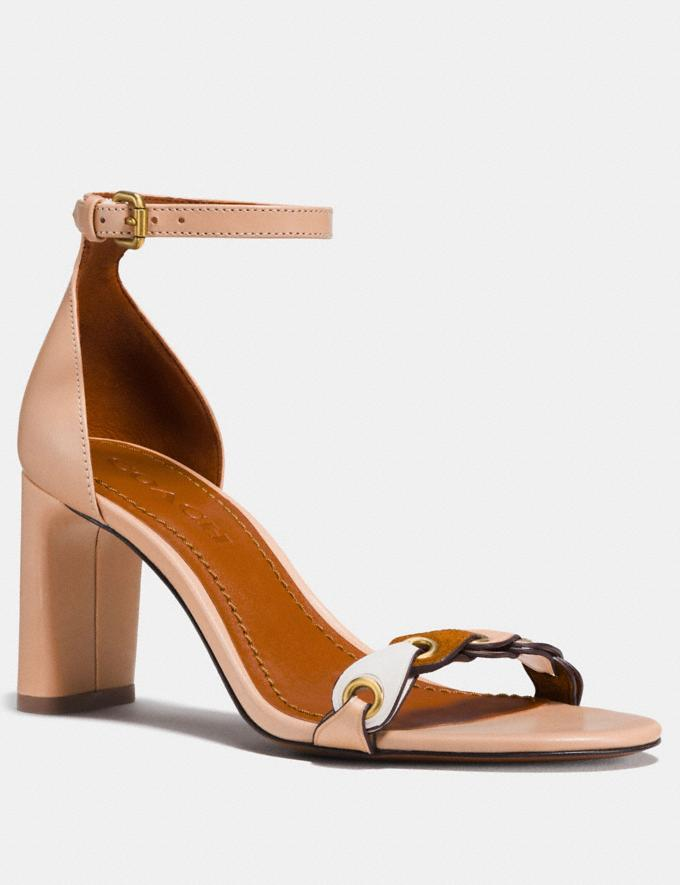 Coach Heel Sandal With Coach Link Beechwood/Chalk/Saddle Women Shoes Sandals