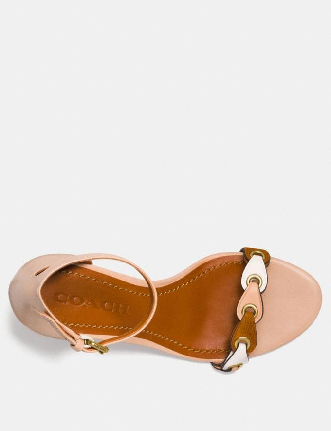 Coach Heel Sandal With Coach Link Beechwood/Chalk/Saddle Women Shoes Sandals Alternate View 2