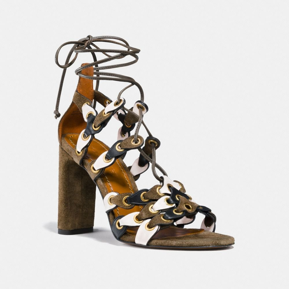 Coach LACE UP HEEL SANDAL WITH COACH LINK