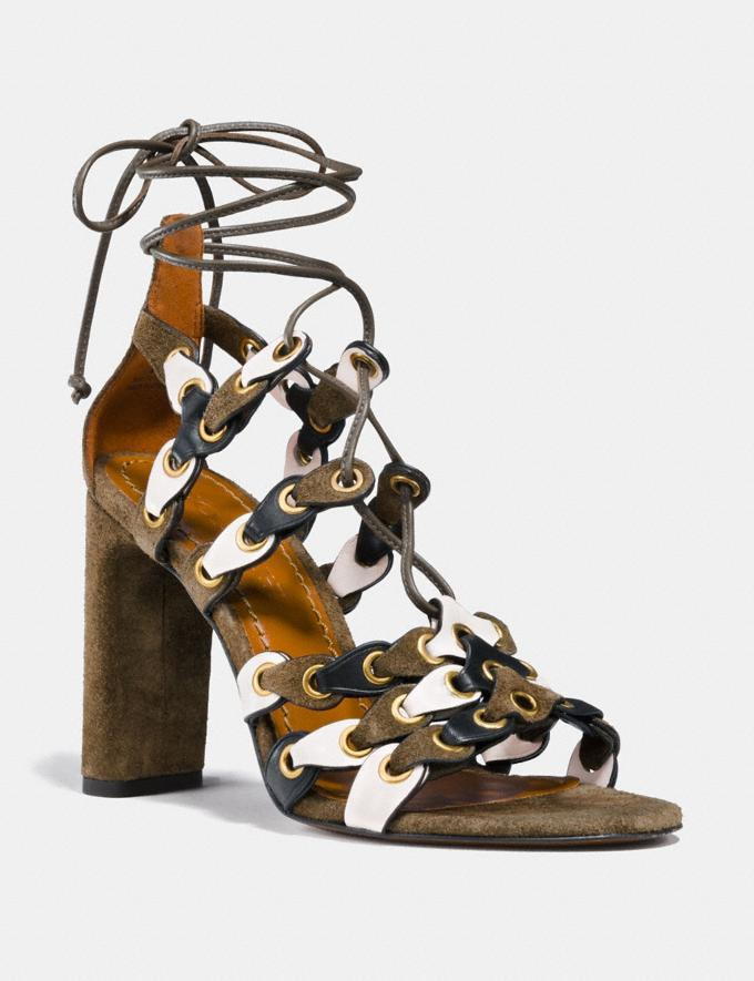 Coach Lace Up Heel Sandal With Coach Link Fatigue/Chalk/Black