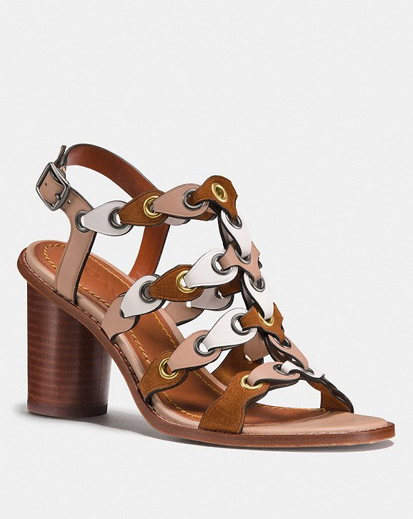 Coach Mid Heel Sandal With Coach Link