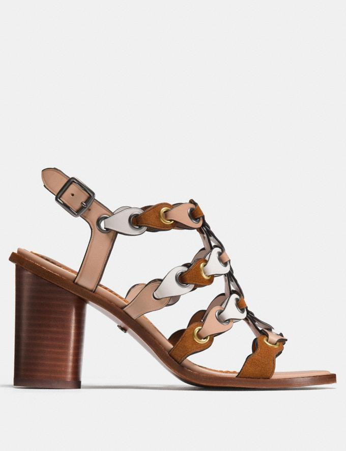 Coach Mid Heel Sandal With Coach Link Saddle/Chalk/Beechwood  Alternate View 1
