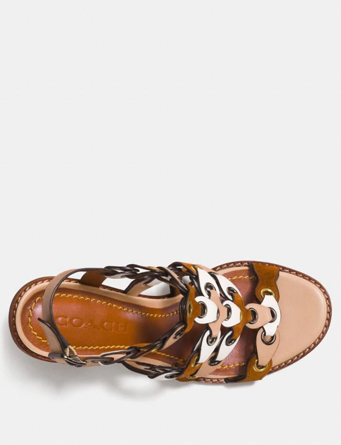 Coach Mid Heel Sandal With Coach Link Saddle/Chalk/Beechwood  Alternate View 2