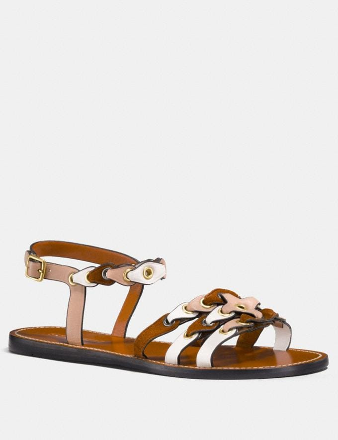 Coach Sandal With Coach Link Beechwood/Saddle/Chalk Women Shoes Flats