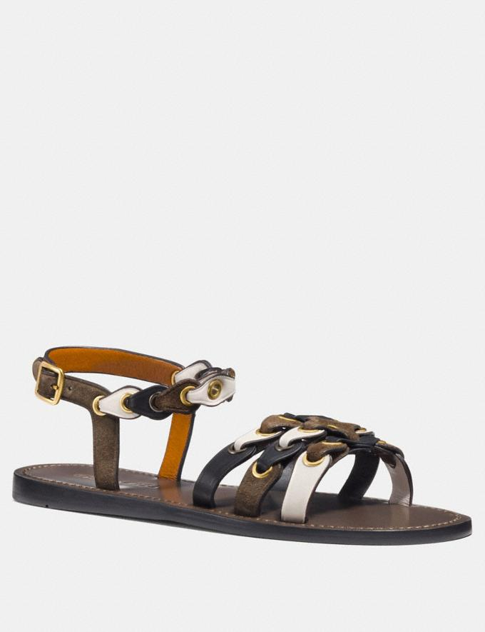 4cddad7ea Coach Sandal With Coach Link Fatigue Chalk Black