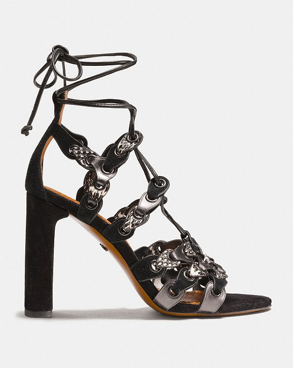 Coach Lace Up Heel Sandal With Coach Link Alternate View 1