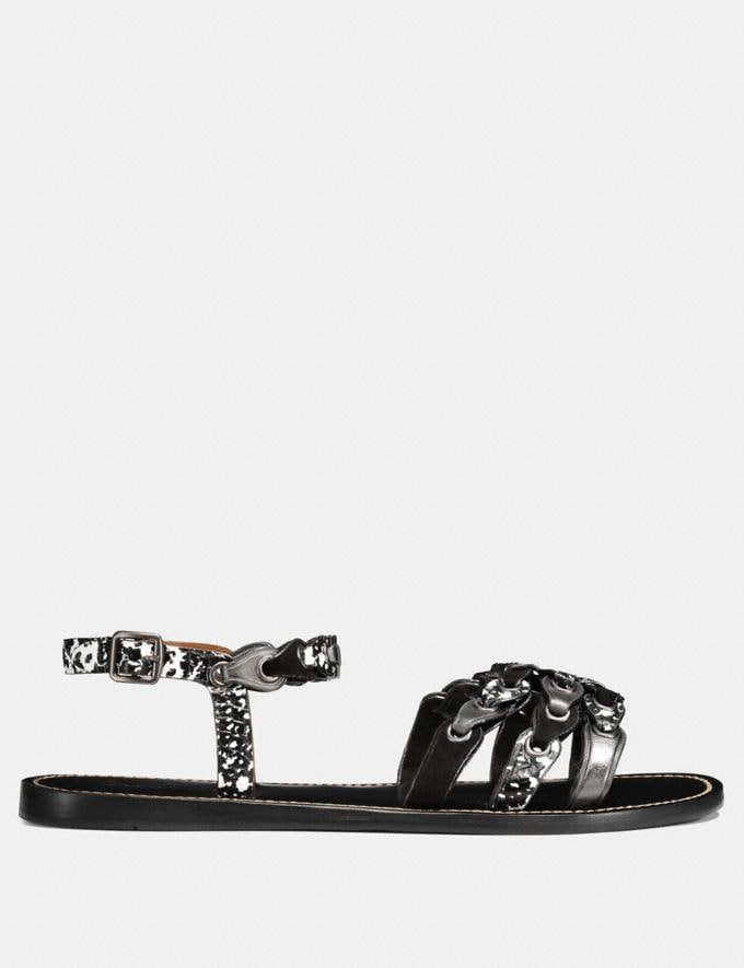 Coach Sandal With Coach Link Black/Black White/Gunmetal  Alternate View 1
