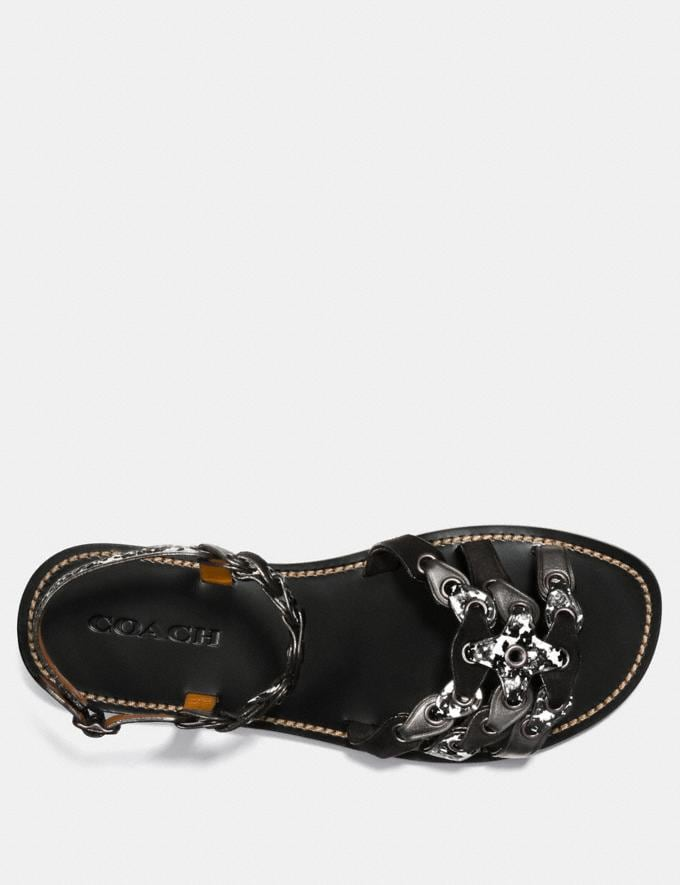 Coach Sandal With Coach Link Black/Black White/Gunmetal  Alternate View 2