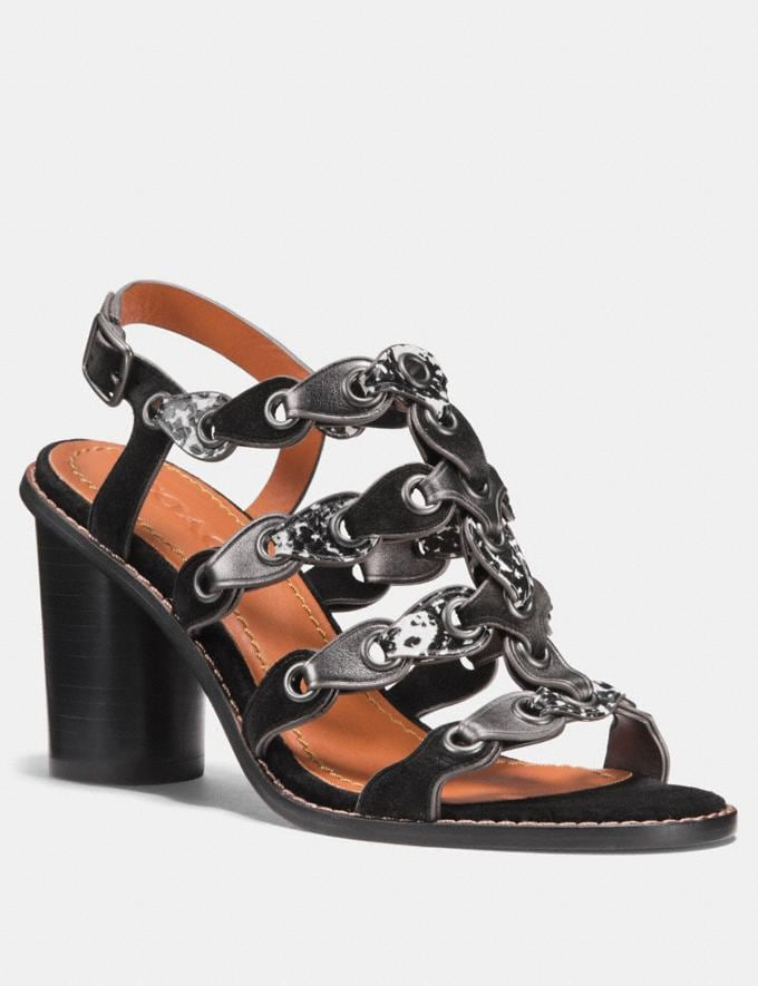 Coach Mid Heel Sandal With Coach Link Black/Black White/Gunmetal