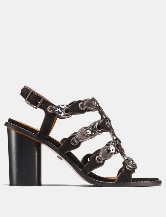 Coach Mid Heel Sandal With Coach Link Black/Black White/Gunmetal  Alternate View 1